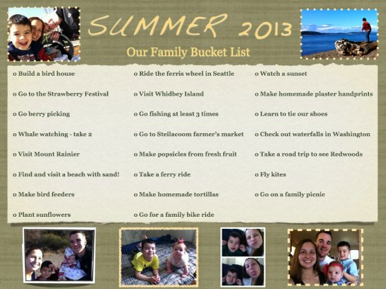 Our Summer 2013 Bucket List